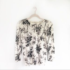 Loft Floral Black & Off-White Printed Sweater